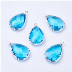 DeepSkyBlue Silver Tone Brass Glass Drop Pendants, Faceted, DeepSkyBlue, 18x10x5mm, Hole: 2mm