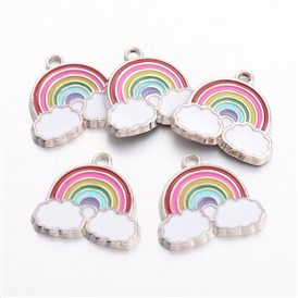 Alloy Enamel Pendants, Rainbow, 17.5x19x1.6mm, Hole: 2mm