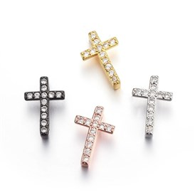 Brass Micro Pave Cubic Zirconia Slide Charms, Cross, Clear