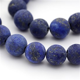 Dyed Frosted Natural Lapis Lazuli Round Bead Strands