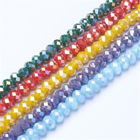 Electroplate Glass Beads Strands, Opaque Solid Color, AB Color Plated, Faceted, Rondelle