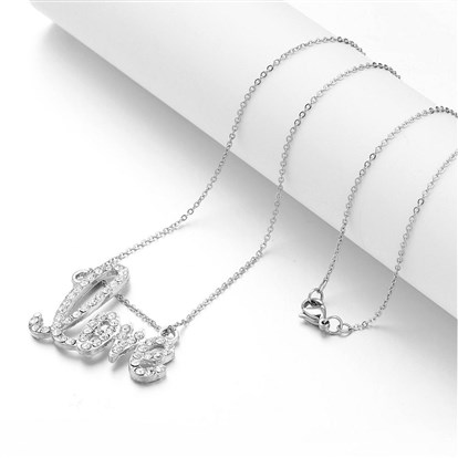 "Alloy Rhinestone Pendant Necklaces, Word ""Love"", with 316 Stainless Steel Chains-1"