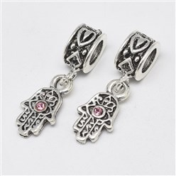 Light Rose Alloy European Dangle Beads, with Rhinestones, Large Hole Pendants, Long-Lasting Plated, Hamsa Hand/Hand of Fatima/Hand of Miriam with Eye, Antique Silver, Light Rose, 25mm, Hole: 4.5mm; Hamsa Hand/Hand of Fatima/Hand of Miriam with Eye: 15x8x3mm