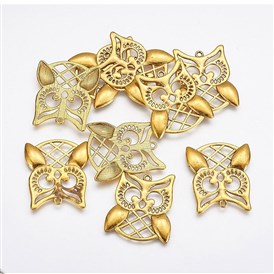 Zinc Alloy Pendants, Halloween, Lead Free and Cadmium Free, Owl, 31x28x1mm, hole: 2mm