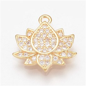 Brass Micro Pave Cubic Zirconia Charms, Lotus, Real Gold Plated