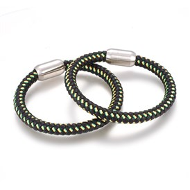 Braided Leather Cord Bracelets, with 304 Stainless Steel Magnetic Clasps