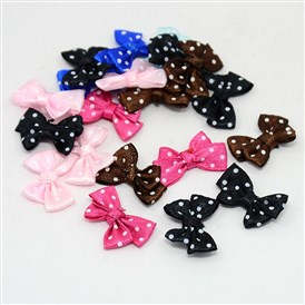 Spot Ribbon Hair Bows, Fabric Material in Polka Dots Design, Good for Dress & Hair Jewelry Decoration, 24x17~18mm