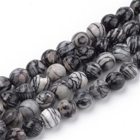 Natural Black Silk Stone/Netstone Beads Strands, Faceted, Round