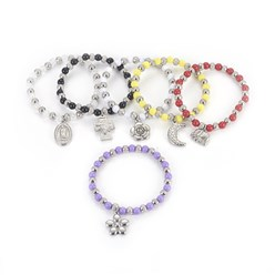 "Mixed Color 304 Stainless Steel Charm Bracelets, with Plastic Beads, Mixed Shaped, Mixed Color, 2-1/4""(5.6cm)"