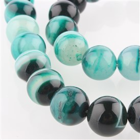 Natural Gemstone Agate Round Bead Strands, Dyed, 10mm, Hole: 1mm; about 38pcs/strand, 14.96""