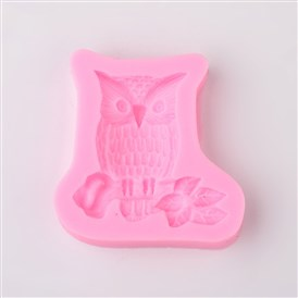 Cute Owl Design DIY Food Grade Silicone Molds, Fondant Molds, For DIY Cake Decoration, Chocolate, Candy, Soap, UV Resin & Epoxy Resin Jewelry Making, 58x57x11mm