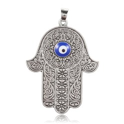 Antique Silver Alloy Big Pendants, with Enamel, Hamsa Hand/Hand of Fatima/Hand of Miriam with Evil Eye, Antique Silver, 50x38x4mm, Hole: 5x6mm