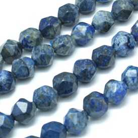 Faceted Natural Lapis Lazuli Gemstone Bead Strands, Star Cut Round Beads, Dyed