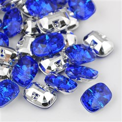 Blue Taiwan Acrylic Rhinestone Buttons, Faceted, 1-Hole, Rectangle, Blue, 30x21x10.5mm, Hole: 2mm