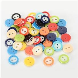 Resin 2-hole Buttons for Clothes Design, Flat Round, Dyed, 11x2mm, Hole: 2mm