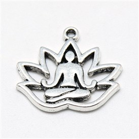 Tibetan Style Alloy Yoga Theme Pendants, Lotus, Lead Free & Cadmium Free