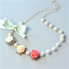 DIY Necklace Kits, Flower Pearl Beading Necklace