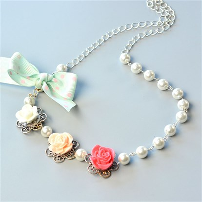 DIY Necklace Kits, Flower Pearl Beading Necklace-1
