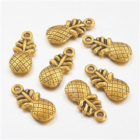 Tibetan Style Pendants, Lead Free and Cadmium Free, Pineapple, about 19.5mm long, 9mm wide, 3mm thick, hole: 1.5mm