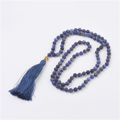 Natural Gemstone Buddha Pendant Necklaces, with Alloy Findings and Nylon Tassels, Frosted, 109 Beads