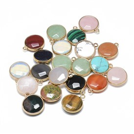 Gemstone Pendants, with Golden Tone Brass Findings, Faceted, Flat Round