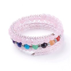 Rose Quartz Natural Rose Quartz and Mixed Gemstone Warp Bracelets, with Glass Beads and Alloy Findings, 50mm