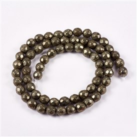 Natural Pyrite Round Beads Strands, Faceted