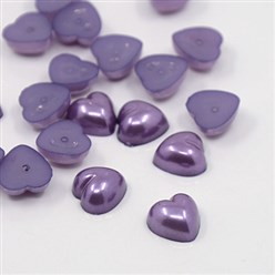 MediumPurple Acrylic Imitation Pearl Cabochons, Dyed, Heart, MediumPurple, 10.5x10.5x5mm; about 1500pcs/bag
