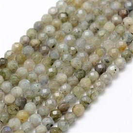 Natural Labradorite Beads Strands, Round, Faceted