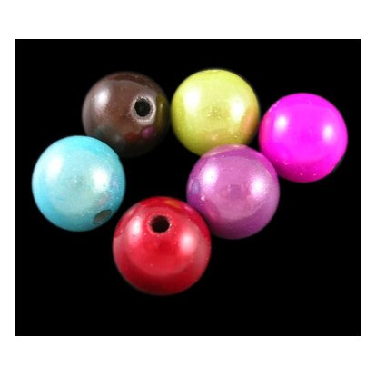 Spray Painted Acrylic Beads, Miracle Beads, Bead in Bead, Round, 10mm, Hole: 2mm