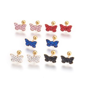 304 Stainless Steel Ear Fake Plugs, Ear Studs, with Polymer Clay Rhinestone, Butterfly