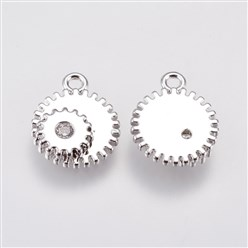 Real Platinum Plated Brass Micro Pave Cubic Zirconia Charms, Gear, Real Platinum Plated, 12.5x10x2.5mm, Hole: 1mm