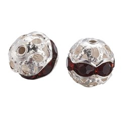 Coffee Brass Rhinestone Beads, Grade A, Silver Metal Color, Round, Coffee, 8mm, Hole: 1mm; 20pcs/box