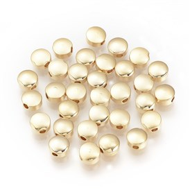 Brass Bead Spacers, Real Gold Plated, Flat Round