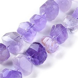 Natural Amethyst Beads Strands, Faceted, Nuggets