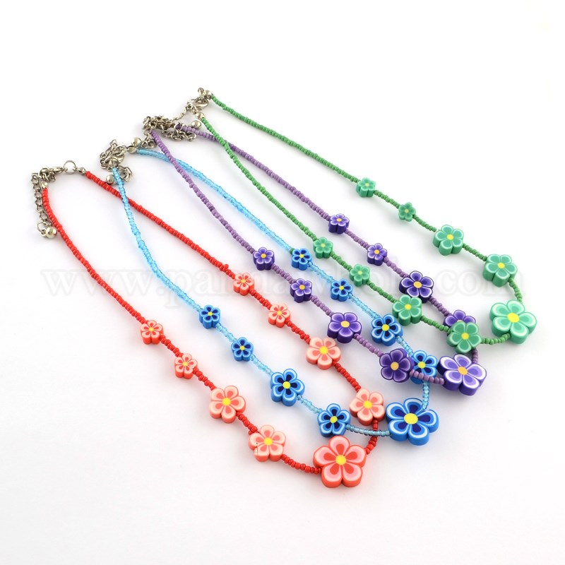 a6b4cdccc082 China Factory Handmade Polymer Clay Flower Beaded Kid Necklaces ...