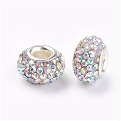 Crystal AB Grade A Rhinestone European Beads, Large Hole Beads, Resin, with Silver Color Brass Core, Rondelle, Crystal AB, 12x8mm, Hole: 4mm