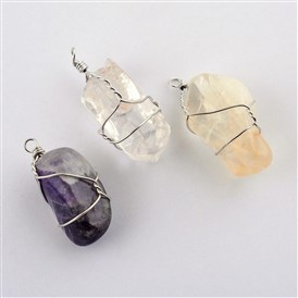 Natural & Synthetic Gemstone Pendants, with Brass Wire, Wrap Pendants, Nuggets, Platinum, Dyed