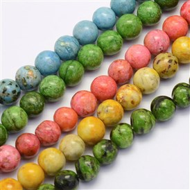 Natural Crazy Agate Beads Strands, Round, Dyed & Heated