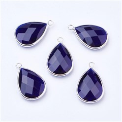 MidnightBlue Silver Tone Brass Glass Drop Pendants, Faceted, MidnightBlue, 18x10x5mm, Hole: 2mm