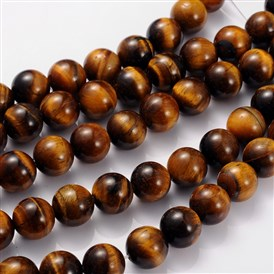 Gemstone Strands, Tiger Eye, 12mm, Hole: 1mm; 33pcs/strand, 15.5