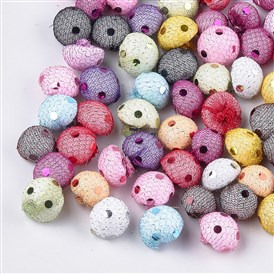 Polyester Cloth Fabric Covered Foam Beads, with Sequins/Paillette, No Hole/Undrilled, Half Round/Dome
