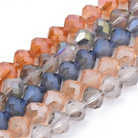 Electroplated Glass Bead Strands, Rainbow Plated, Faceted, Frosted, Bicone