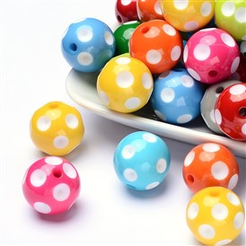 Chunky Bubblegum Acrylic Beads, Round with Polka Dot Pattern