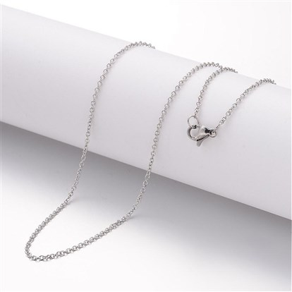304 Stainless Steel Necklace Making, Cross Chains, with Lobster Clasps-1