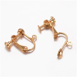 Golden Brass Clip-on Earring Findings, Lead Free, Golden, 16x16~17x5mm, Hole: 1.5mm
