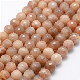 Natural Sunstone Beads Strands, Faceted, Round