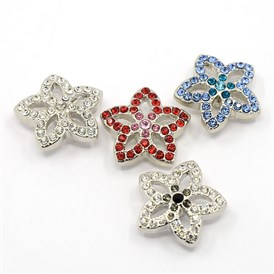 Alloy Pave Rhinestone Buttons, Flower Jewelry Snap Buttons, Cadmium Free & Nickel Free & Lead Free, Platinum, 22x8mm