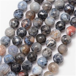Black Natural Fire Agate Bead Strands, Round, Grade A, Faceted, Dyed & Heated, Black, 8mm, Hole: 1mm; about 47pcs/strand, 15""