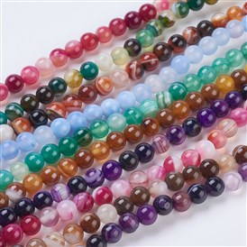 Round Dyed Natural Striped Agate/Banded Agate Beads Strands, 6mm, Hole: 1mm